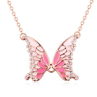 Elegant Temperament Butterfly Czech Crystals Pendant Necklace for Women Wedding Party Jewelry Ladies Jewellery Blue/Black/Pink