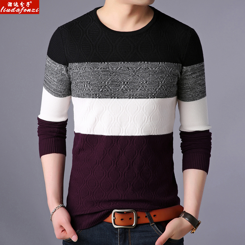 LIUDAFENZI Long Sleeved Sweater Youth Youth Fashion Leisure Autumn Winter Thickening V Collar Knitted Sweater