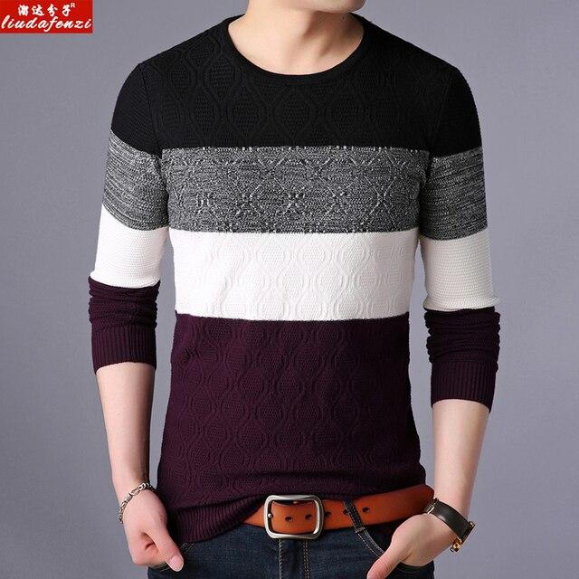 LIUDAFENZI juventude juventude lazer moda outono inverno de manga comprida camisola espessamento gola V camisola de malha