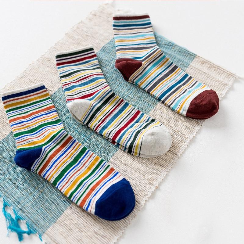 New Arrival! Mens Fashion Casual Socks Color Fine Stripes Funny Male Dress Socks Rainbow Socks for Wedding (3 Pairs/lot)