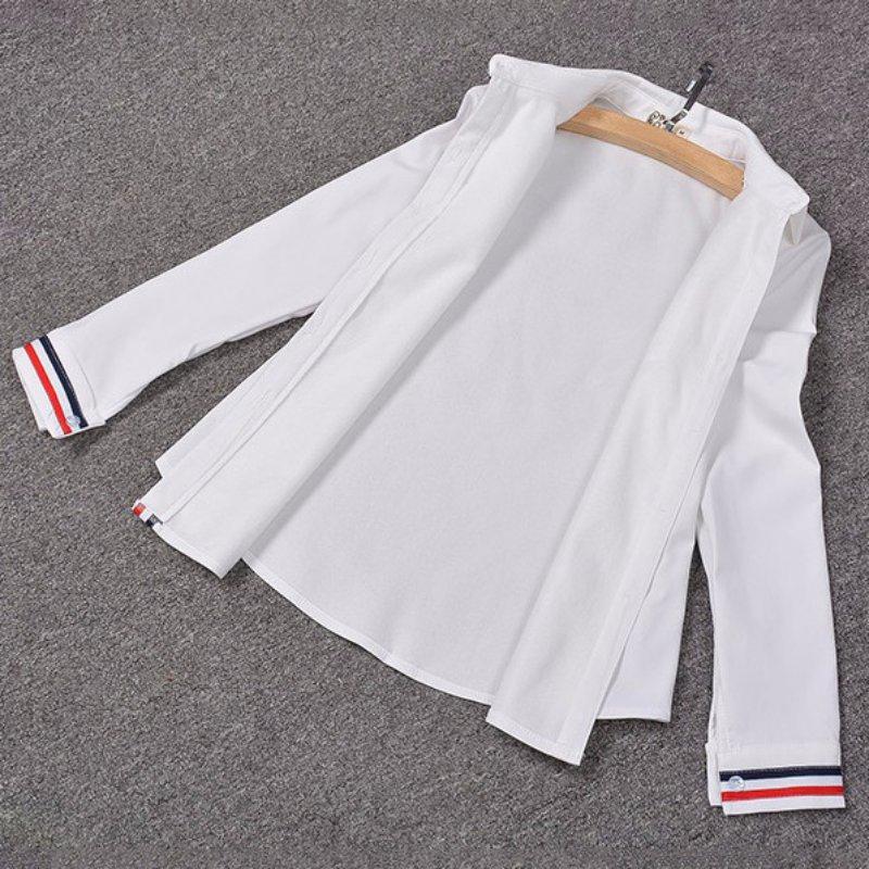 Fesyen OL Striped Long Sleeve Lapel Shirt Button kasual Down Tops - Pakaian wanita - Foto 5