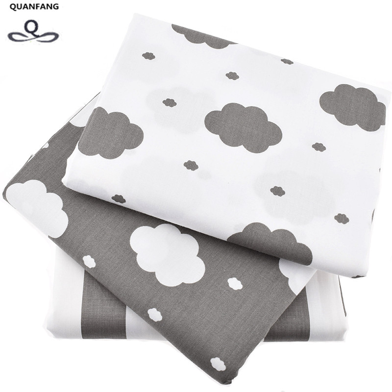 Clouds Printed Twill Cotton Fabric For Sewing Quilting Gray Sky Tissue Baby Bed Sheets Sleepwear Children Dress Skirt Material