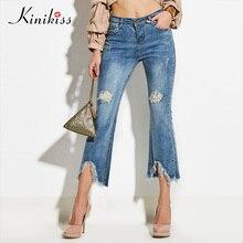 Kinikiss 2018 musim semi jins ramping celana skinny wanita hitam tinggi pinggang jeans bellbottoms peregangan zipper fashion wanita denim celana