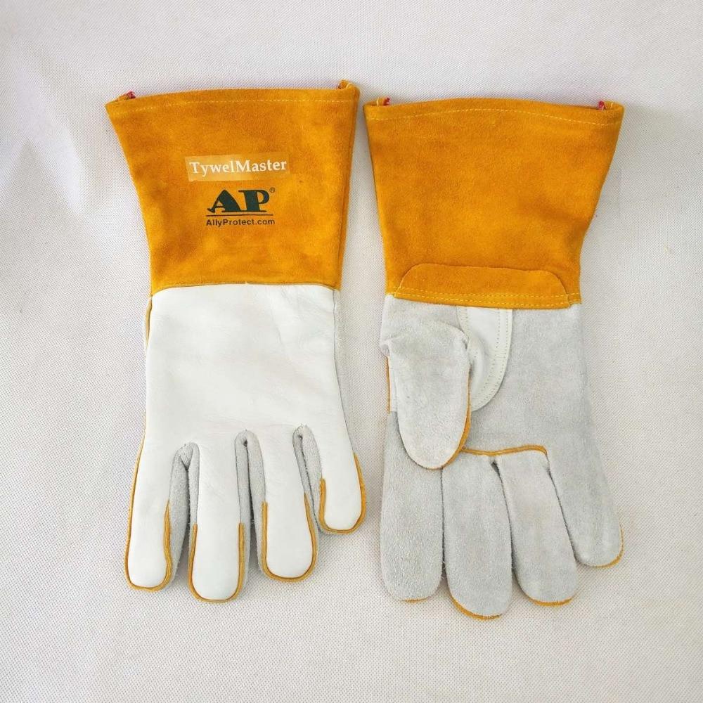 Welding Gloves 14inch 36cm Split Cowhide  amp  Calfskin Leather Reinforced Thumb amp Palm CE MIG Stick TIG Welding Worker Gloves