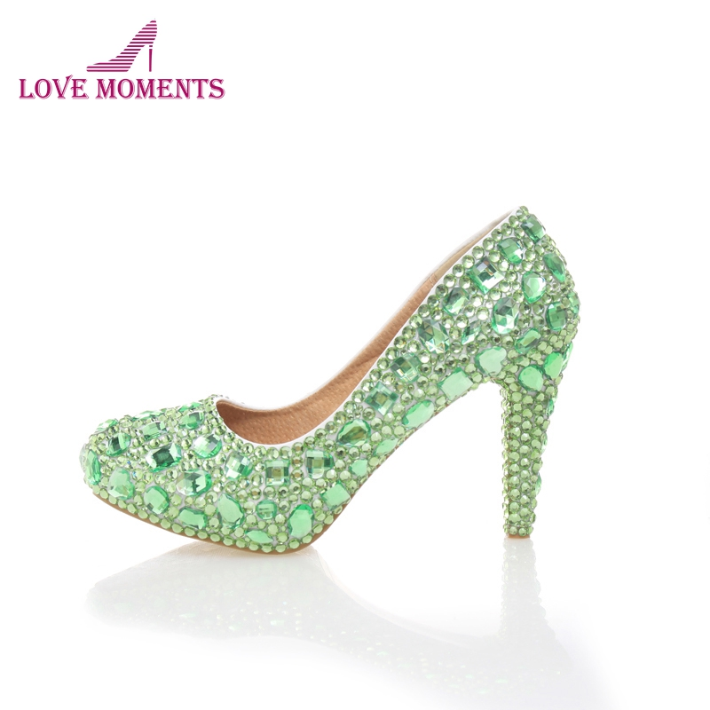 10cm High Heel Green Color Rhinestone Cinderella Prom Pumps Crystal Wedding  Party Prom Shoes Handmade Bridal 24e239731912