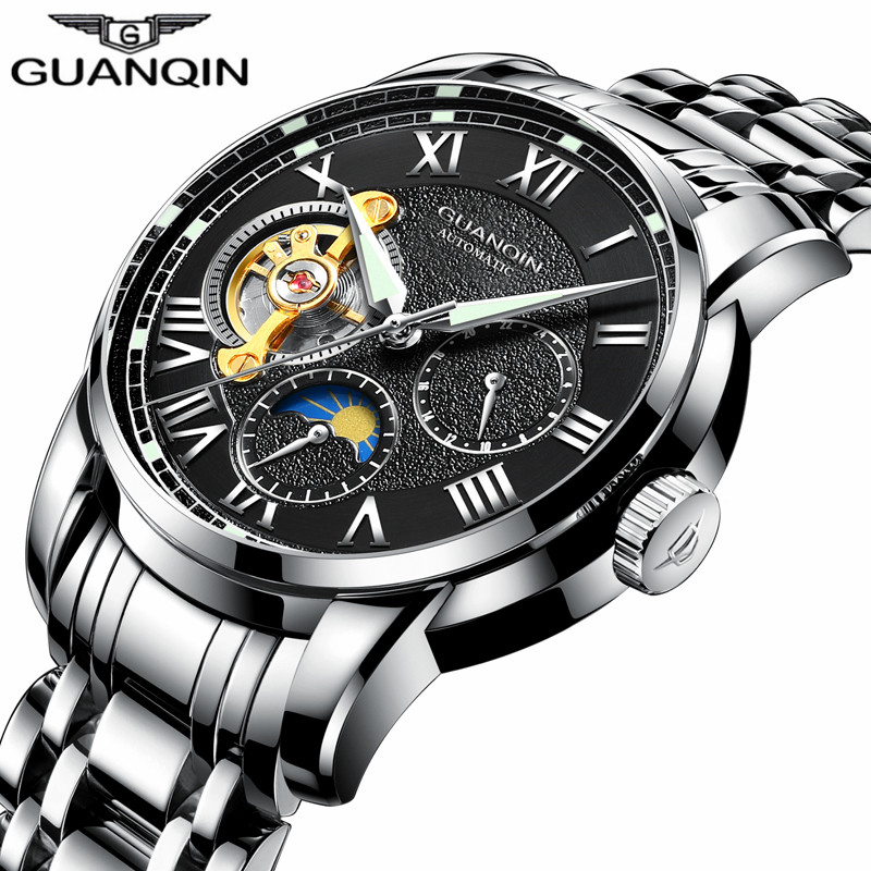 New GUANQIN Mens Watches Top Brand Luxury Automatic Mechanical Watch Men Business Tourbillon Skeleton Stainless Steel Wristwatch tevise men black stainless steel automatic mechanical watch luminous analog mens skeleton watches top brand luxury 9008g