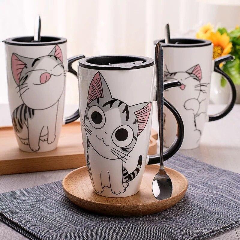 Envío de la gota 600 ml creativo gato Taza de cerámica con tapa y cuchara de café con leche taza de té tazas de porcelana agradable regalos