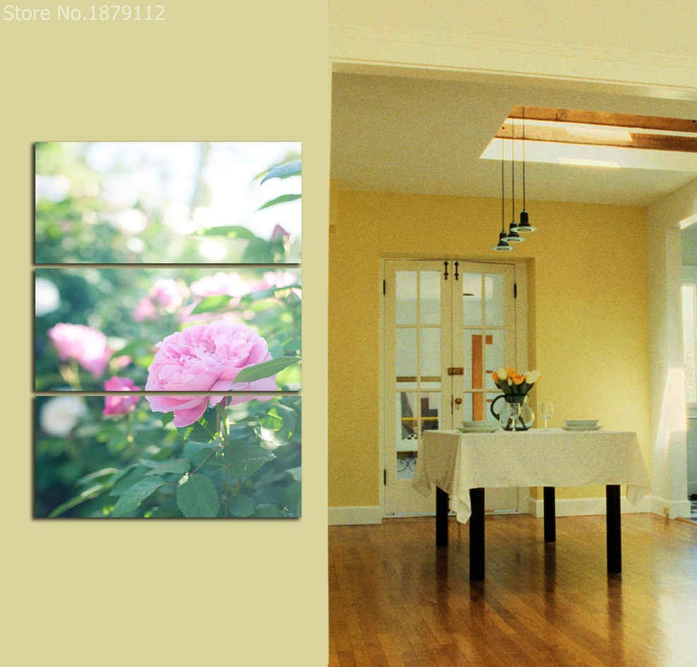 Canvas Art Pink Flower Painting Beautiful 3 Panels Still Life ...