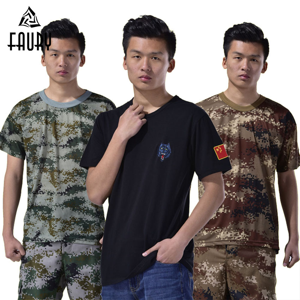 Military Uniform Men' Clothing Summer Camouflage T-shirt Pants Army Combat Tactical Equipment Protective Color Training Costumes