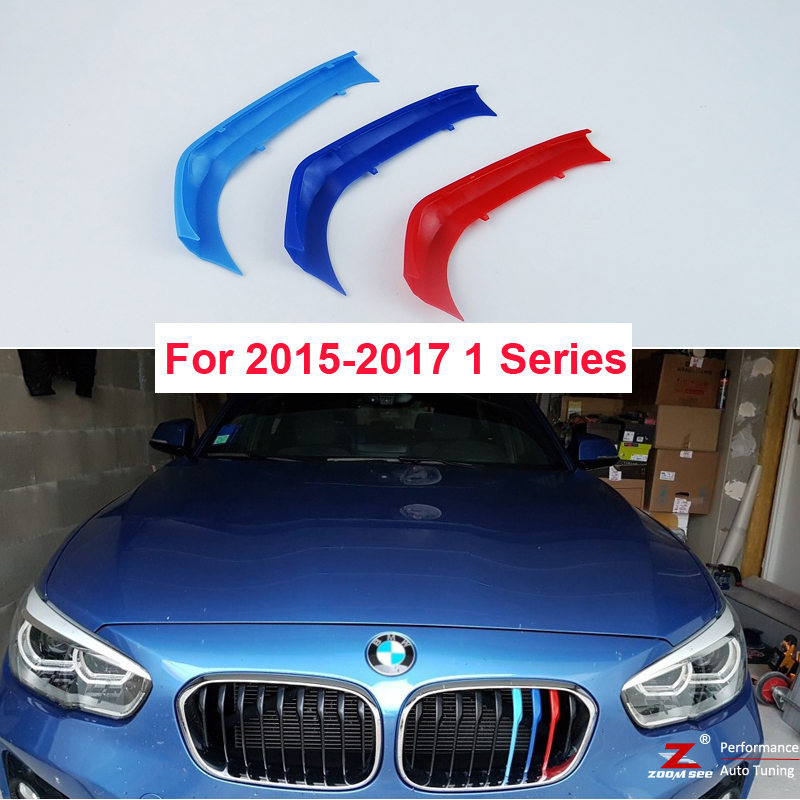 3D M Car Front Grille Trim Sport Strips grill Cover Stickers For 2015 to 2017 BMW 1 series F20 F21 116 118 120 125 135