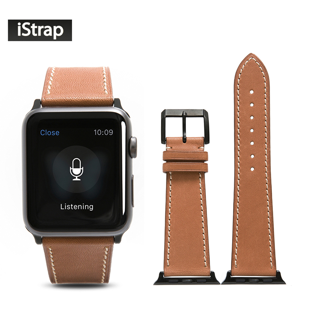 все цены на iStrap Brown Watch Strap Leather For Apple Watch 42mm Sport Edition High Quality Replacement Band For iWatch Series 1 and 2 онлайн