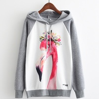 KaiTingu Brand Fashion Autumn Winter Long Sleeve Women Hooded Sweatshirt Harajuku Flamingos Print Hoodies Tracksuit Pullover