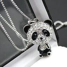 $10 (mix order) Free Shipping Imitation Diamond Sweater Chain Necklace Cute Female Panda Jewelry N001 10g