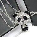 $10 (orden de la mezcla) Envío Gratuito Collar Suéter Cadena de Diamantes de Imitación Lindo Panda Hembra Joyería N001 10g