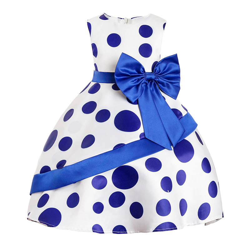 Kids Clothes Polka Dot Girls Dresses Baby Girl Big bow Tutu Princess Flower Dress Christmas Party Costume Children Clothing free shipping 10pcs an8481sb