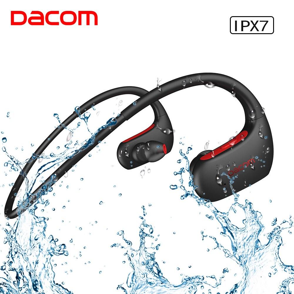 DACOM Sports Bluetooth Headphone Bass IPX7 Waterproof Wireless Headset Bass Stereo Earphone with Microphone for Samsung iPhone dacom athlete bluetooth 4 1 headset wireless headphone sports stereo earphone with microphone