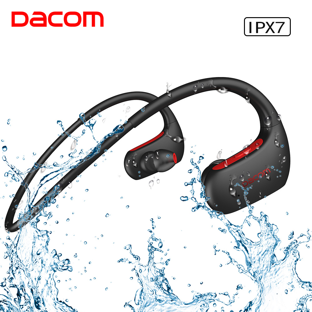 DACOM V4.1 Sport Bluetooth Headphones Wireless IPX7 Waterproof Earphone Stereo Bass Headset Hands-free with Microphone for Phone high quality wireless headphones bluetooth headset with microphone nfc hifi music wireless earphones for phone hands free