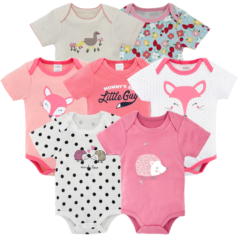 7 PCS/lot 2018 summer new baby clothes boy girl short sleeve baby bodysuits boy girl clothing ropa bebe newborn costumes