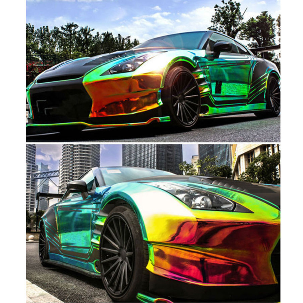 1.38x0.5m High Glossy Holographic Rainbow Neo Chrome Car Vinyl Wrap Bubble Free Sticker Film 54