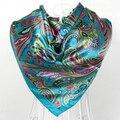 Мусульманский женщины большой квадрат шелк шарф обертывания женское узор дизайн синий атлас квадрат шарфы печать