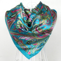 2014 Fashion Muslim Women Big Square Silk Scarf Wraps Hot Sale Female Classical Pattern Design Blue Satin Square Scarves Printed