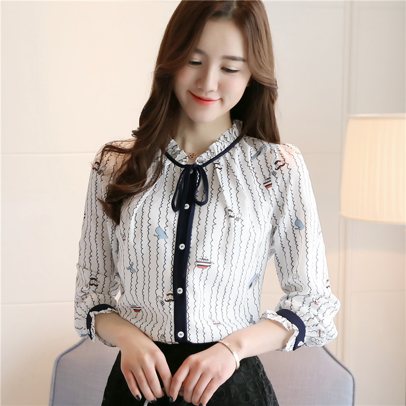 2019 New women   blouse     shirt   Casual white striped   shirt   flower print long sleeve   blouse   women tops chiffon ruffle blusas 910H3
