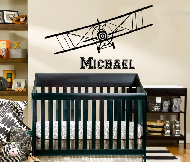 Airplane Wall Decal Personalized Custom Name Biplane Decor Kids Boys Bedroom Wall Stickers Vinyl Art Murals & Airplane Wall Decal Personalized Custom Name Biplane Decor Kids Boys ...