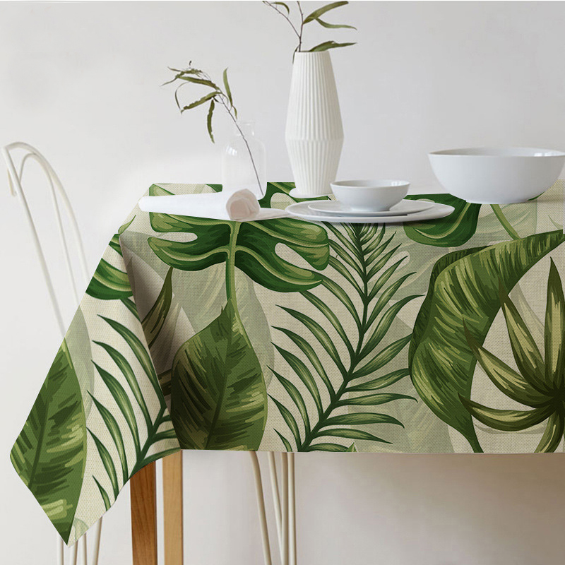 Table cloth Rectangular Pastoral style Tropical Plants Printed Tablecloth Home Protection and decoration Elegant Table cover ...