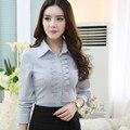Профессиональных Женщин весной 2016 сплошной цвет рубашку с длинными рукавами ПР офис Тонкий stretchTops Женский Полоса Формальный Блузка Рубашки 4XL