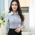 Professional Women spring 2016 solid color long-sleeved shirt OL office Slim stretchTops Female Stripe Formal Blouse Shirts 4XL