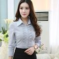Profissional Das Mulheres primavera 2016 de cor sólida longo-sleeved camisa OL escritório Magro stretchTops Feminino Tarja Camisas Formais Blusa 4XL