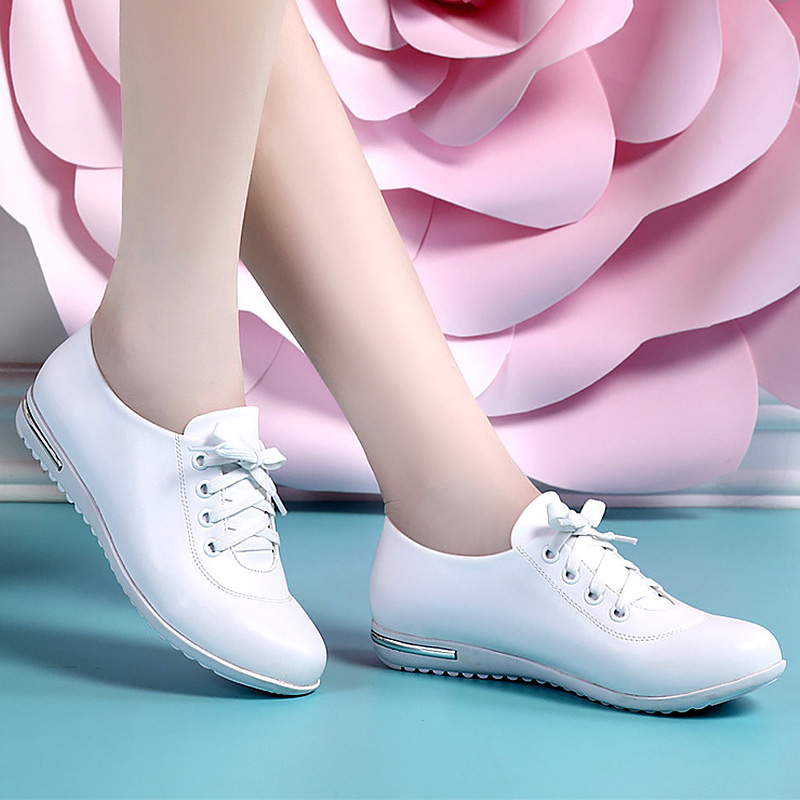 2019 Spring Shoes Ladies Genuine Leather Sneakers Size 34-42 Wedges Women Sneakers Casual White Shoes Girls Leather Shoes