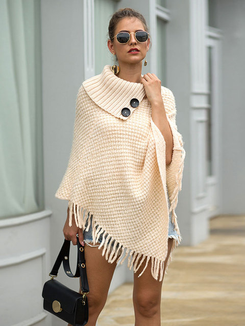 HEE GRAND New Women Wraps 2019 Fashion Tassels Cloaks Autumn Half Sleeve Knitted Pullovers Turn Down Collar Sweaters WZL1502 8