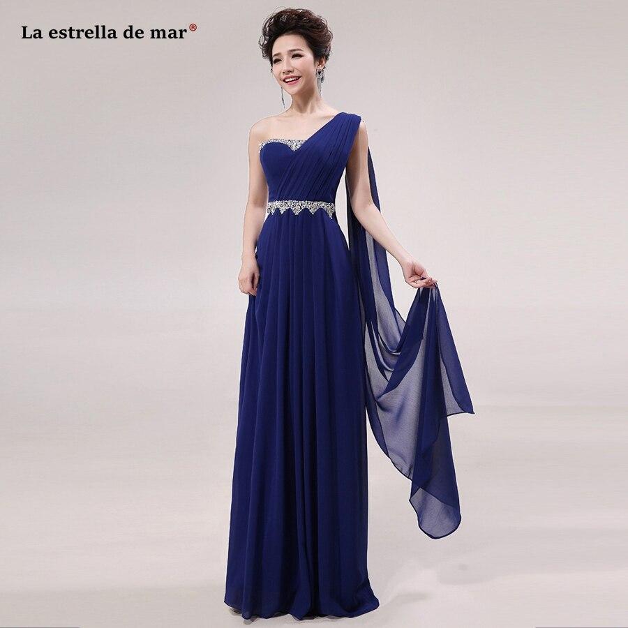 Brautjungfernkleid SALE Chiffon Diamonds One Shoulder Chiffon A Line Mint Royal Blue Purple Pink Bridesmaid Dress Long Cheap