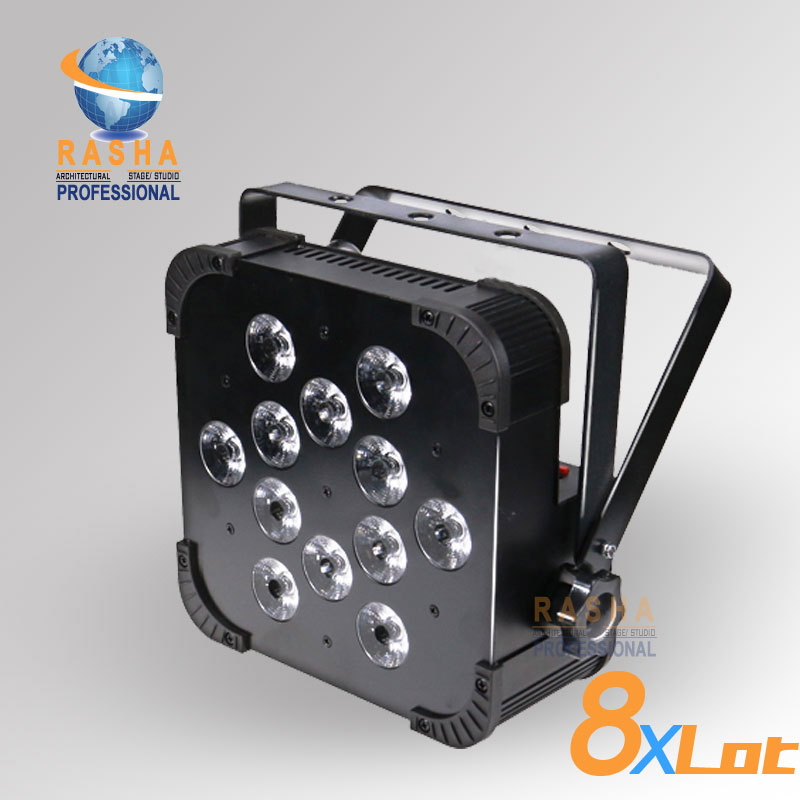 8X Rasha Quad V12-12pcs*10W 4in1 RGBW/RGBA LED Slim Par Profile,LED Flat Par Can,Disco Stage Event Light 8x lot hot rasha quad 7 10w rgba rgbw 4in1 dmx512 led flat par light non wireless led par can for stage dj club party page 1