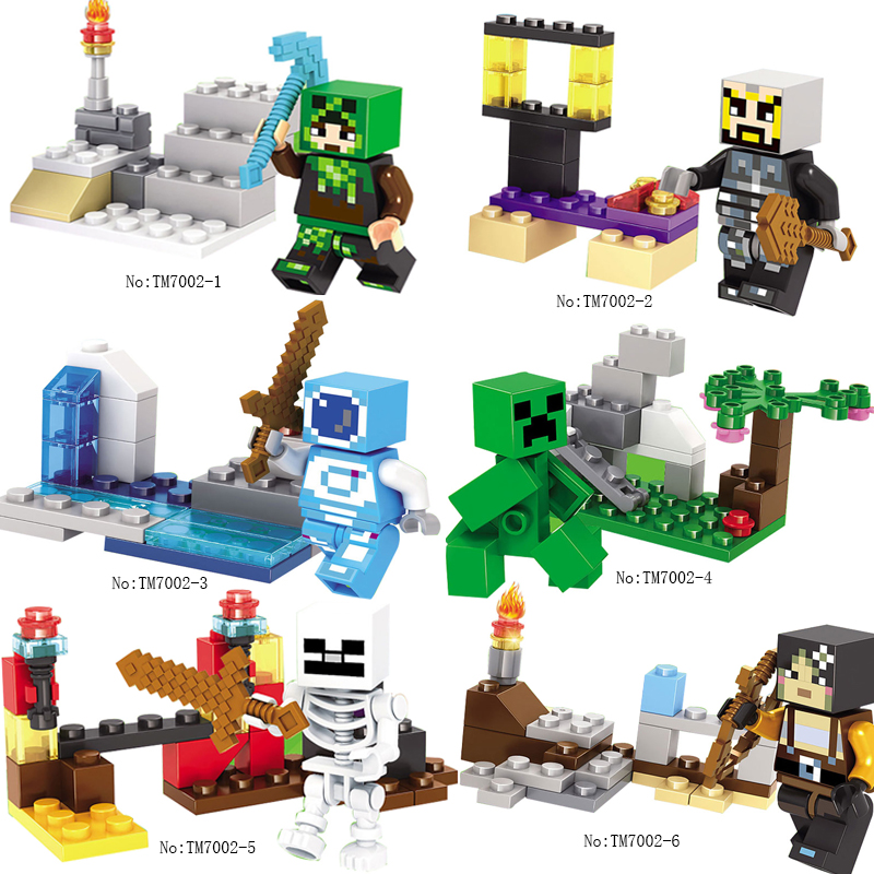 Legoings Minecraft MY World Shadow Dragon Crystal Zombie Steve Skeleton Compatible Legoing Minecrafted Figures Kids Block Bricks