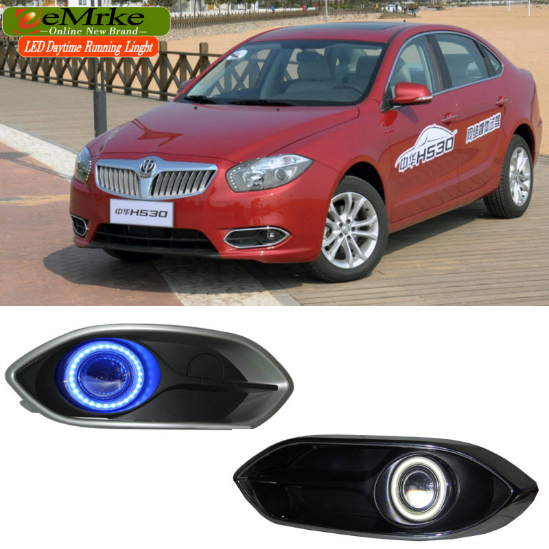 EEMRKE For Brilliance H530 LED Angel Eye DRL H3 55W Halogen Yellow Fog Lights Lamp  Daytime Running Light led daytime running lights for mazda6 atenza 2013 2014 2015 2016 led angel eye led drl halogen h11 55w fog light