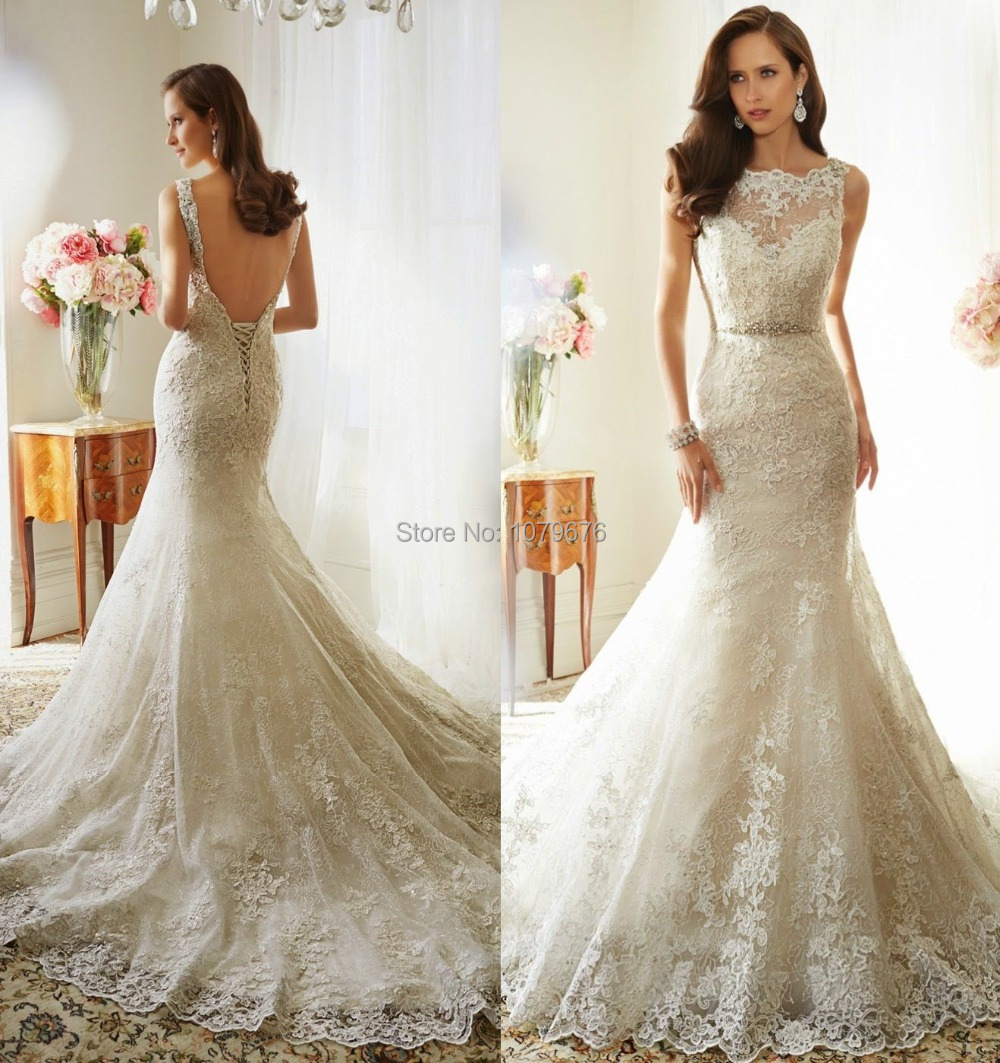 Expensive graceful cap sleeve mermaid lace wedding dresses for Lace sleeve backless wedding dress