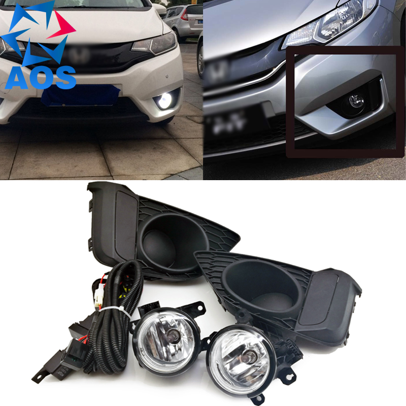 2PCS Car Styling LED DRL super power Fog light Car Daytime Running Lights for Honda Fit Jazz 2014 2015 2pcs set fog lights daytime running light drl h1 fog bulbs high power 100w yellow 4300k replacement car lamps car styling