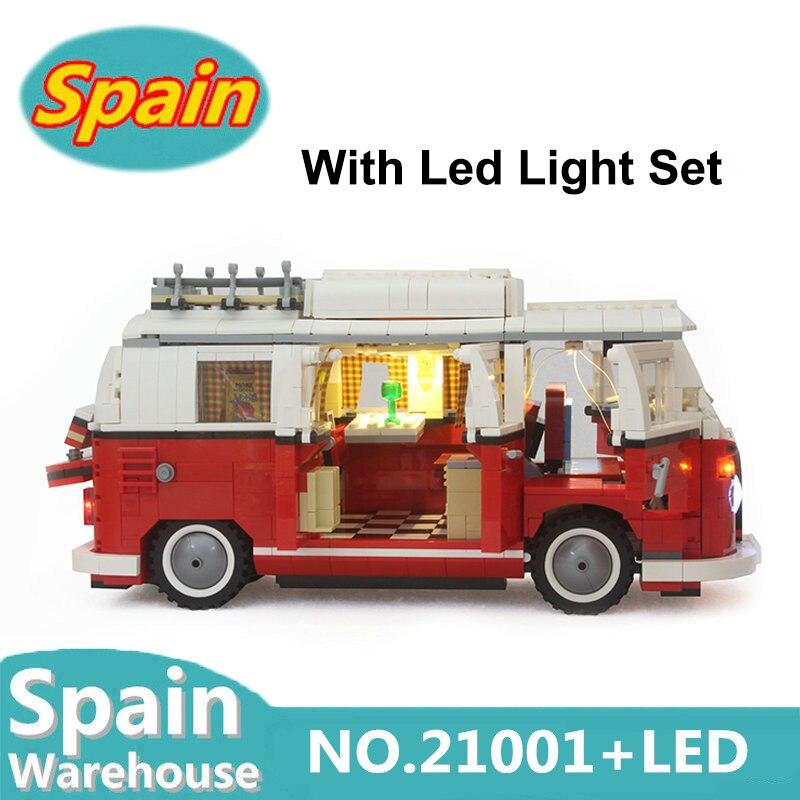 21001 With Led Light Set 1354pcs Creator T1 Camper Car Building Blocks City Car 10220 Toys
