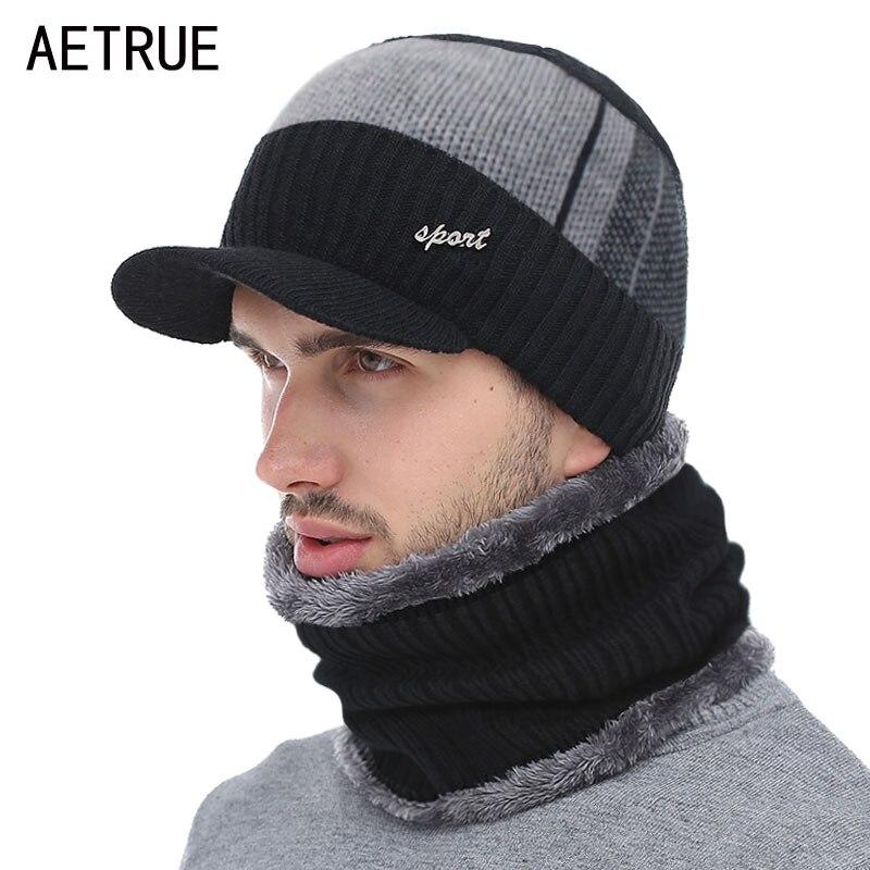 Knitted Hat Men Winter Beanie Hat Winter Hats For Men Scarf Fur Bonnet Women Skullies Beanies Gorro Beany Balaclava Beanies Cap