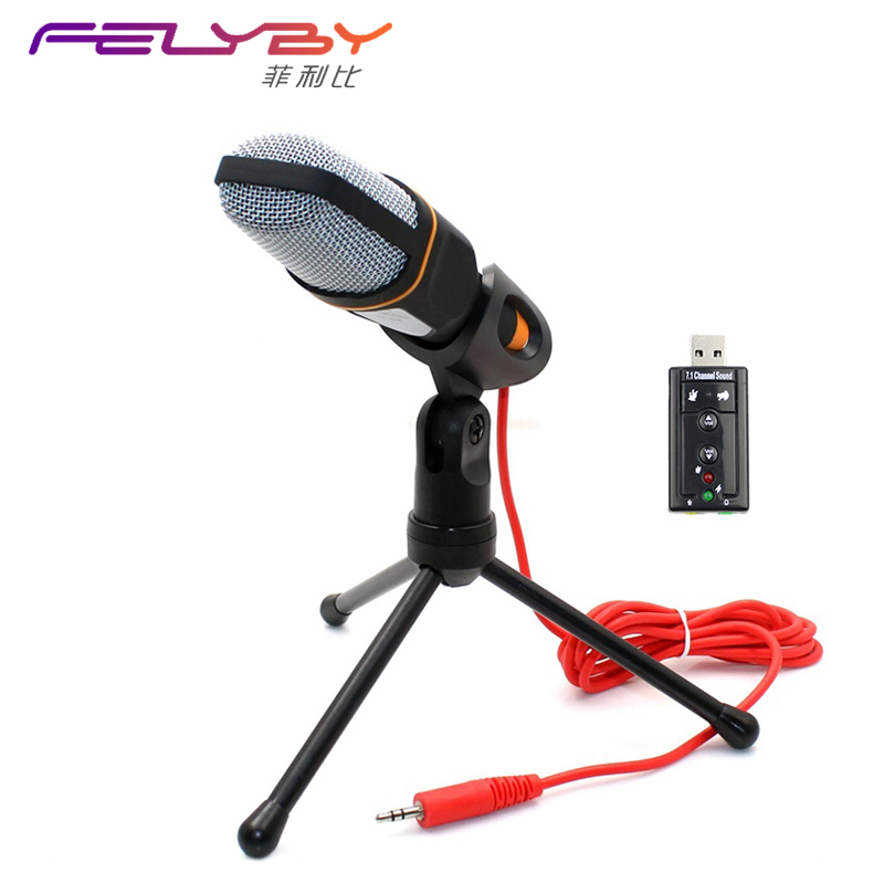 New Condenser Microphone Professional Sound Podcast Studio Microphones for computer PC phone Laptop Skype MSN Karaoke + PC stent superlux ecm999 ecm 999 highly reliable professional measument microphone condenser testing microphone