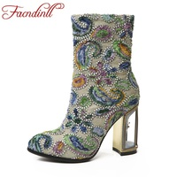 FACNDINLL Fashion Women High Qulaity Ankle Boots Shoes Sexy High Heels Round Toe Zipper Shoes Woman