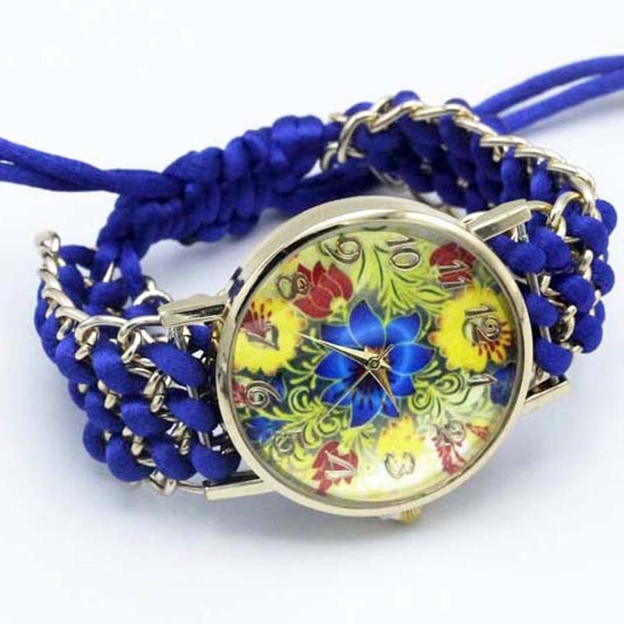 shsby nya Ladies Flower hand-stickade armbandsur guld kvinnor - Damklockor - Foto 4