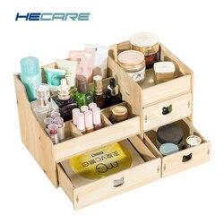 2019 nuevo De madera Organizador De cosméticos Diy De madera Organizador De Maquiagem Rosa maquillaje cajones Organizador fábrica De caja De joyería