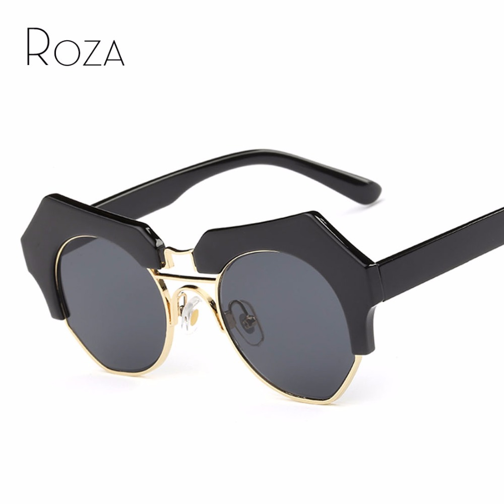 Roza Gafas de sol mujer lente redonda estilo de verano de lujo diseño de  marca espejo gafas Sol Gafas con caja qc0427 5630dfef9c