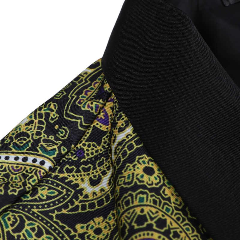 高級ペイズリー花ブレザー男性ブランド宮殿ワンボタンメンズスーツブレザージャケット付添人の結婚式のゴールドスーツ Veste オム 3XL