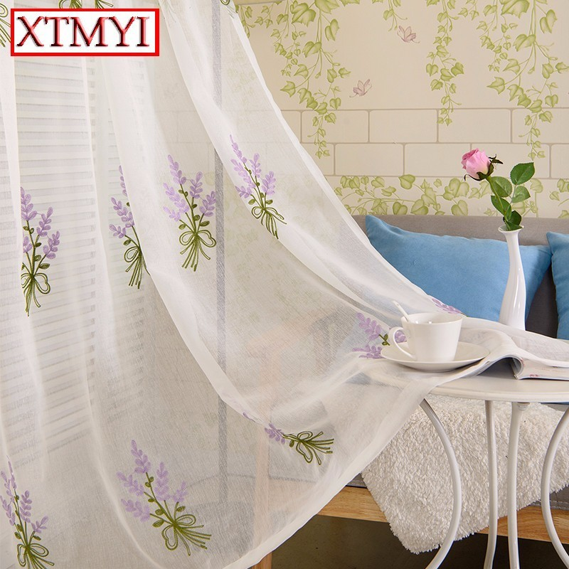 Purple lavender tulle curtains for living room window treatment transparent door Cotton and linen Embroidered European