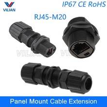 IP67 RJ45 Ethernet waterproof adapter socket Connector Panel Mount Outdoor Straight-through joint plug 8P8C 1pcs Free Shipping(China)