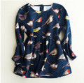 YXN6554329 Retail 2016 Winter Baby Girl Dress Print Birds Fashion Toddler Girls Princess Dress Children Clothes Supplier